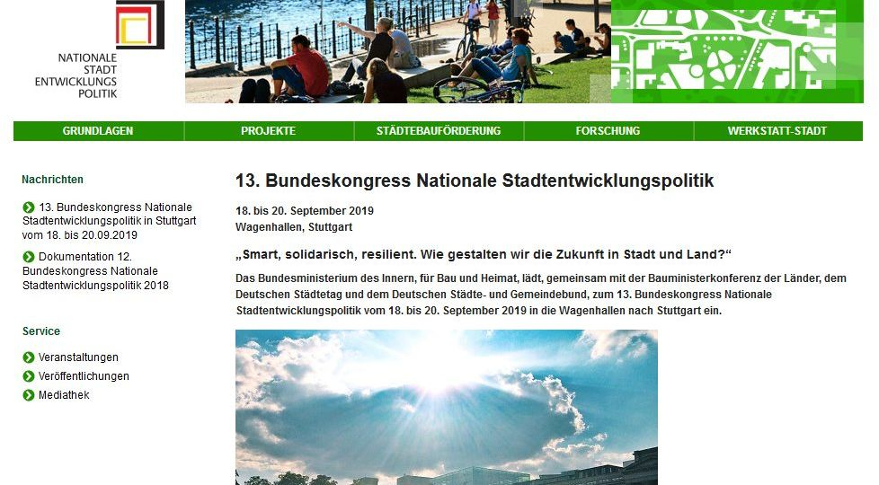 Screenshot Bundeskongress Nationale Stadtentwicklungspolitik