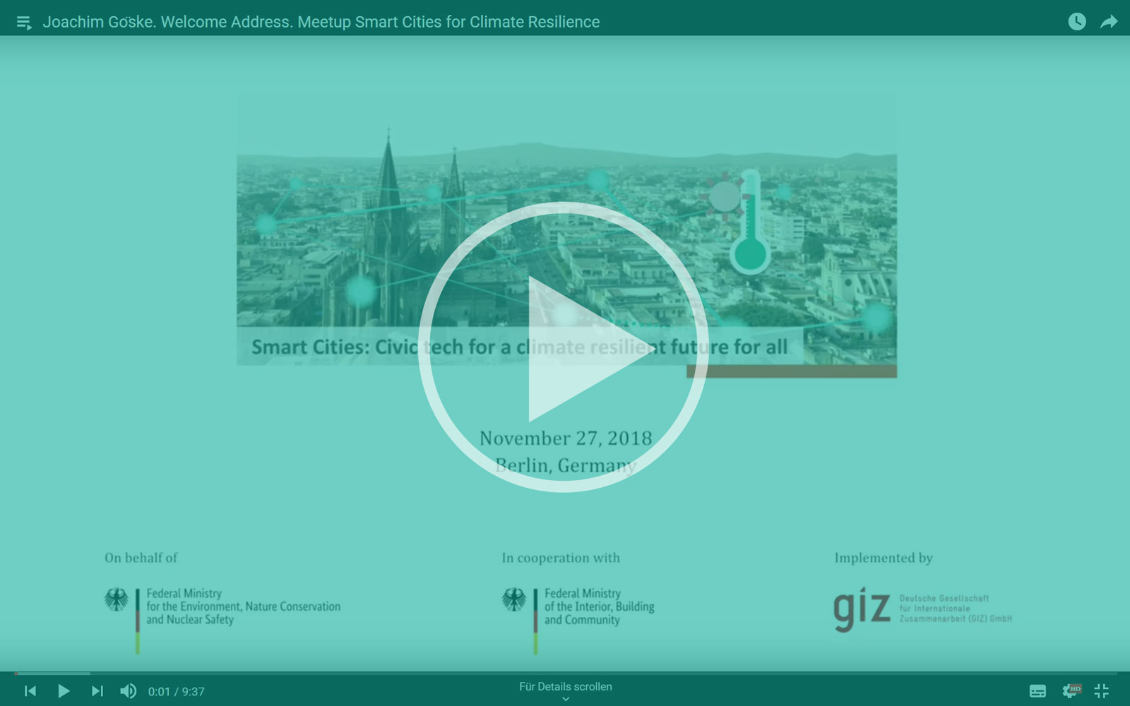 YouTube: Meetup Smart Cities for Climate Resilience